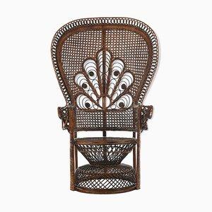 Armlehnstuhl aus Korbgeflecht, 1940er