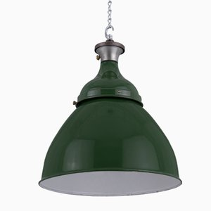 Green Industrial Pendant Lamp, 1950s