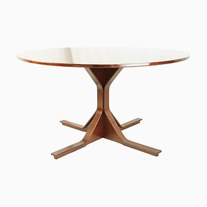 Italian Wooden Round Dining Table by Gianfranco Frattini for Bernini, 1960s