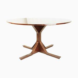 Mesa de comedor italiana redonda de madera de Gianfranco Frattini para Bernini, años 60