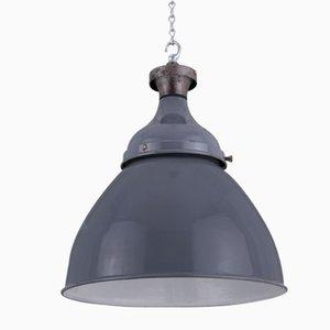 Lampe à Suspension Industrielle Grise, 1950s