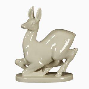 Statuetta a forma di cervo vintage in porcellana di Lomonosov