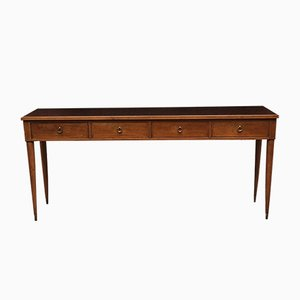 Italian Walnut, Dark Brown Glass, and Brass Console Table by Paolo Buffa, 1950s