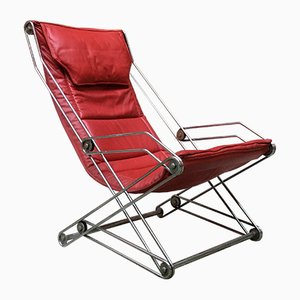 Italian Red Chromed Steel Chaise Lounge, 1970s