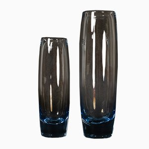 Vintage Danish Glass Vases by Per Lütken for Holmegaard, 1960s, Set of 2