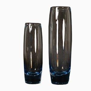 Vintage Danish Glass Vases by Per Lütken for Holmegaard, 1960s, Set of 2