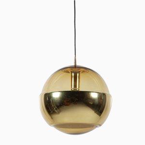 Lámpara colgante vintage en forma de globo de latón de Peill & Putzler