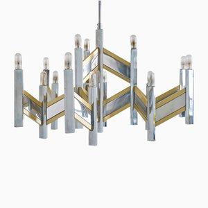 Lampadario grande vintage in metallo cromato e ottone di Sciolari, anni '70