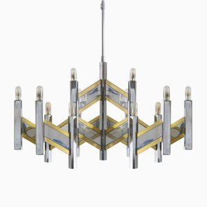 Large Vintage Chromed Metal and Brass Chandelier from Sciolari, 1970s