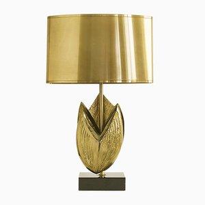 Lámpara de mesa de bronce de Chrystiane Charles para Maison Charles, años 70