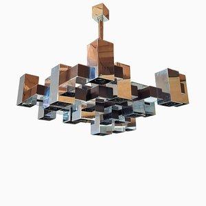 Grand Lustre Cubique Mid-Century en Chrome par Gaetano Sciolari pour Sciolari, 1960s