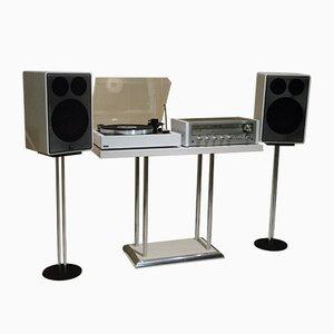 Equipo de alta fidelidad compuesto por amplificador Pioneer, tocadiscos Lenco, altavoces Cantón con soportes, años 70. Juego de 7