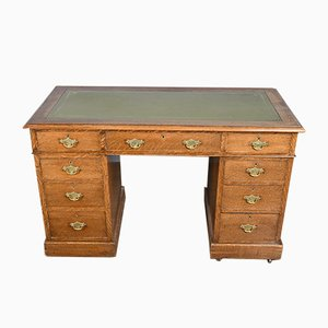 Antique Victorian Oak Pedestal Desk