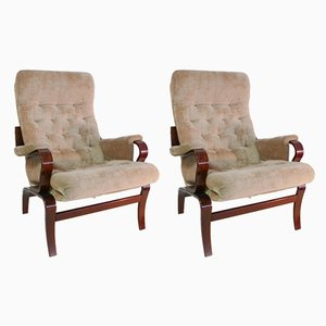 Vintage Rosewood Lounge Chairs by Bruno Matthson for Homa, Set of 2