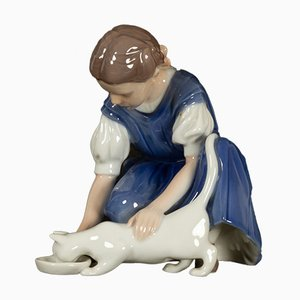 Danish Porcelain Girl with Cat Figurine by Ingeborg Plockross Irminger for Bing & Grondahl, 1970s