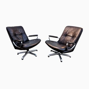 Vintage Leather and Chrome Armchairs by André Vandenbeuck, Set of 2