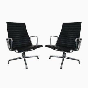 Chrome and Leather Model EA 116 Swivel Armchairs by Charles & Ray Eames for Vitra, 1993, Set of 2