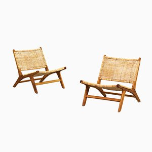 Mid-Century Teak & Cane Lounge Chairs, Set of 2
