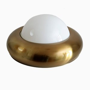 Italian Brass & Opal Glass Ceiling Lamp from Valenti Luce, 1960s