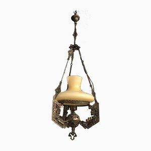 Lampe à Suspension Vintage en Verre Opalin et Bronze, 1940s