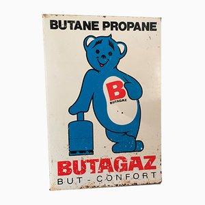 Glasiertes Butagaz Werbeschild aus Glas, 1950er