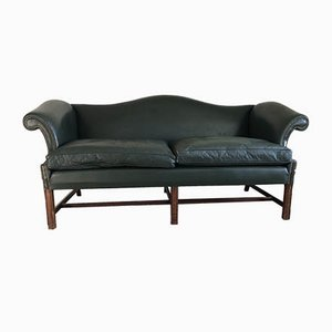 Leather Camelback Sofa, 1970s