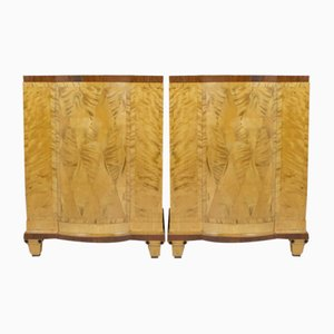 Art Deco Scandinavian Rosewood Pedestal Cabinets, Set of 2