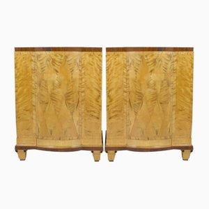 Art Deco Scandinavian Rosewood Pedestal Cabinets, Set of 2