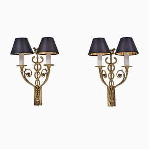 Antique French Bronze Wall Lights, Set of 2