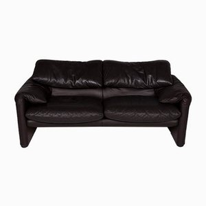 Vintage Dark Brown Leather Model Maralunga 2-Seater Sofa from Cassina