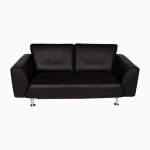 Vintage Black Leather 2-Seater Sofa from Rolf Benz