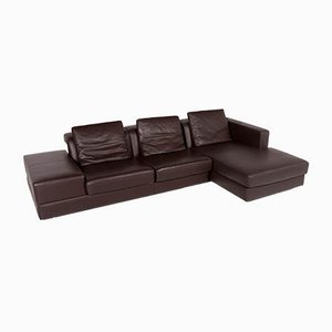 Vintage Dark Brown Leather Corner Sofa from WK Wohnen