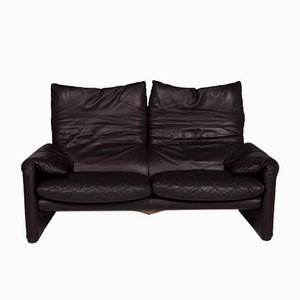 Vintage Dark Brown Leather Model Maralunga Sofas and Armchair Set from Cassina