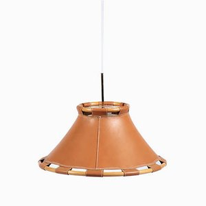 Vintage Leather Pendant Lamp by Ahrens Anna for Ateljé Lyktan