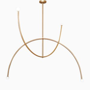 Brass Double Arch Pendant Light by Square In Circle