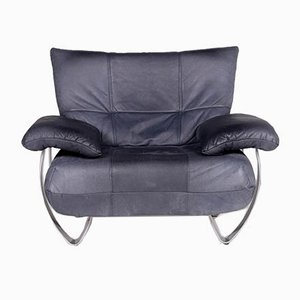 Vintage Blue Leather Armchair from Musterring International
