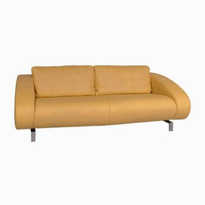 Vintage Yellow Leather 2-Seater Sofa from Machalke