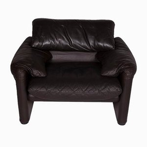 Vintage Dark Brown Leather Model Maralunga Armchair from Cassina