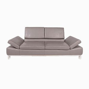 Vintage Gray Leather 3-Seater Sofa from Willi Schillig