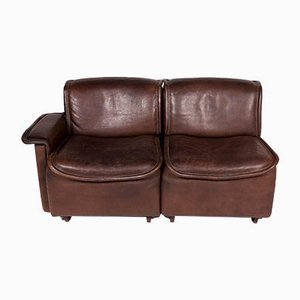 Vintage Brown Leather Model DS12 2-Seater Sofa from de Sede