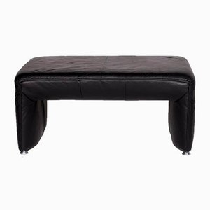 Vintage Black Leather Footstool from Laauser