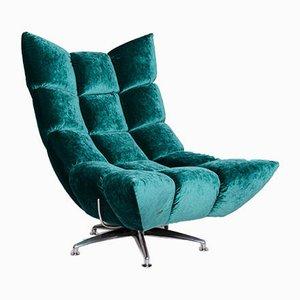 Vintage Velvet Model Hangout Armchair and Footstool Set from Bretz
