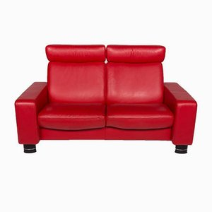 Vintage Red Leather Sofas and Footstool Set from Stressless