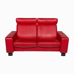 Vintage Red Leather 2-Seater Sofa from Stressless