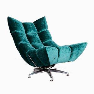 Vintage Blue Velvet Model Hangout Armchair from Bretz