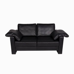 Vintage Black Leather 2-Seater Sofa from Ewald Schillig