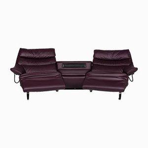Vintage Purple Leather Sofa from Himolla
