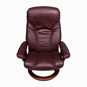 Vintage Red Brown Leather Model Consul Armchair by Kein Designer for Stressless