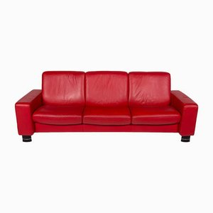 Vintage Red Leather 3-Seater Sofa from Stressless