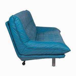 Blaues Vintage 3-Sitzer Ledersofa von Rolf Benz
